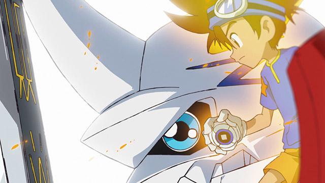 東京を守るため戦う二人とオメガモン