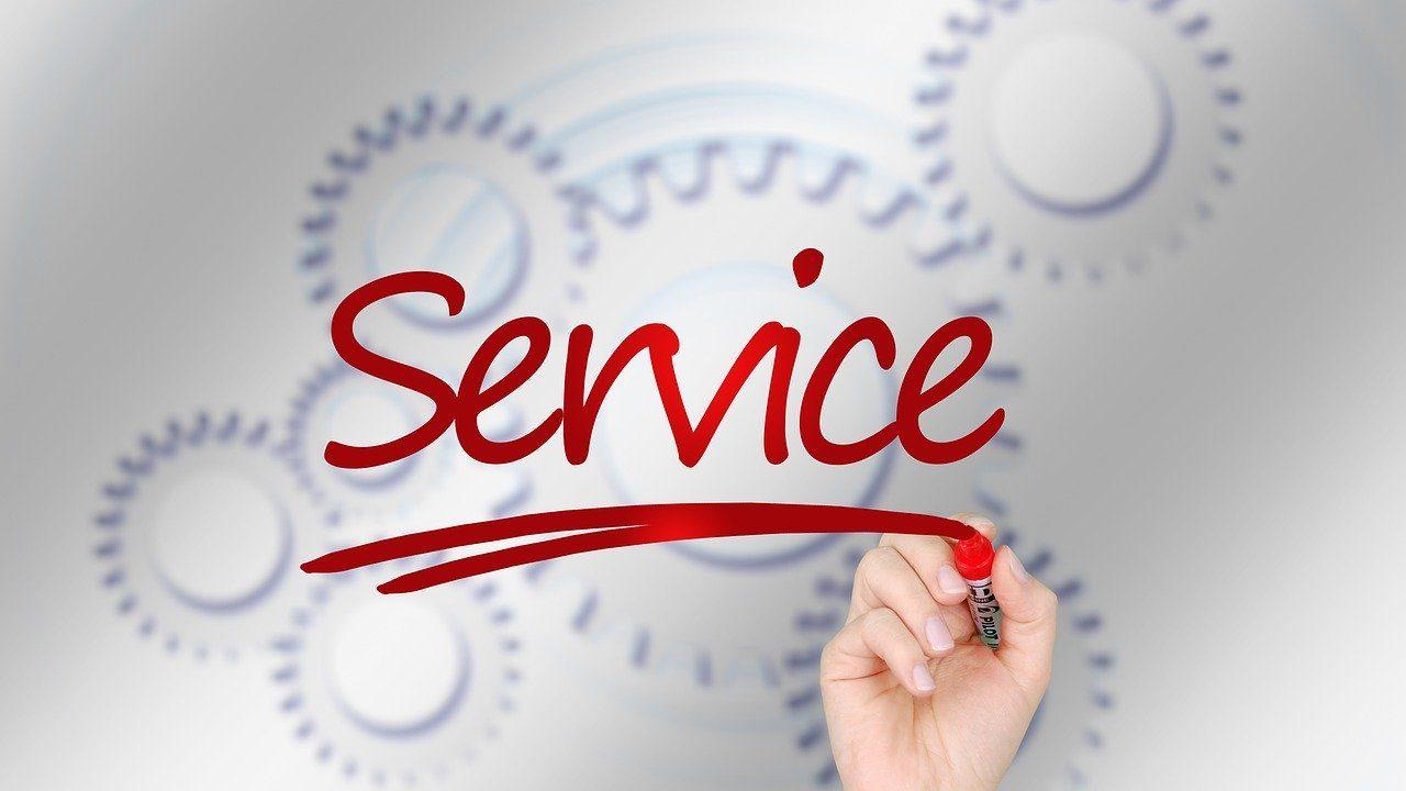 「service」と書いている